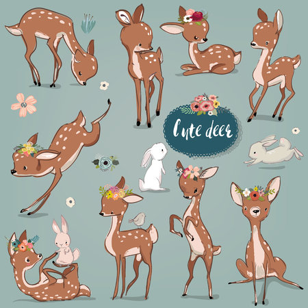 Illustration pour set with cute hares and deer - image libre de droit