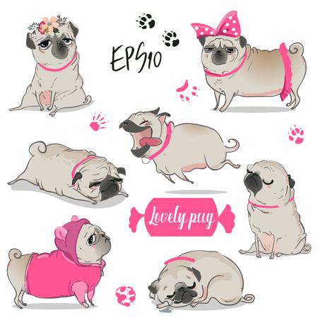 Ilustración de set with cute cartoon pug - Imagen libre de derechos