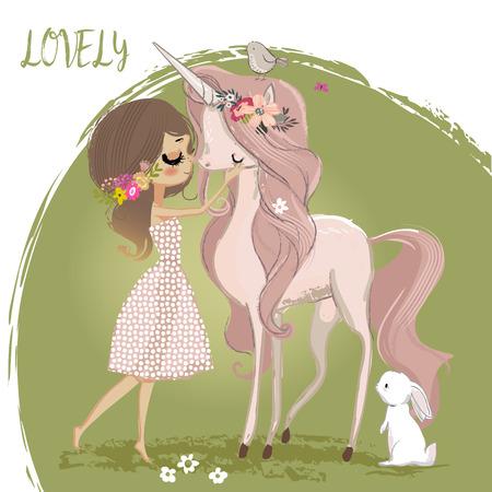 Illustration pour Cute unicorn with girl - image libre de droit
