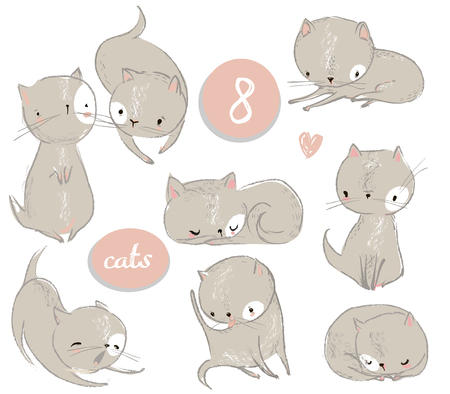 Illustrazione per Set with cute cartoon kitten - Immagini Royalty Free