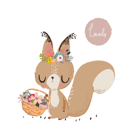 Illustration pour Cute summer squirrel - image libre de droit