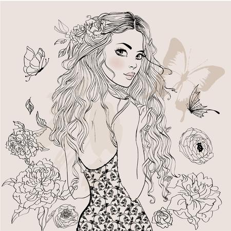 Illustration pour Beautiful Summer Girl - image libre de droit