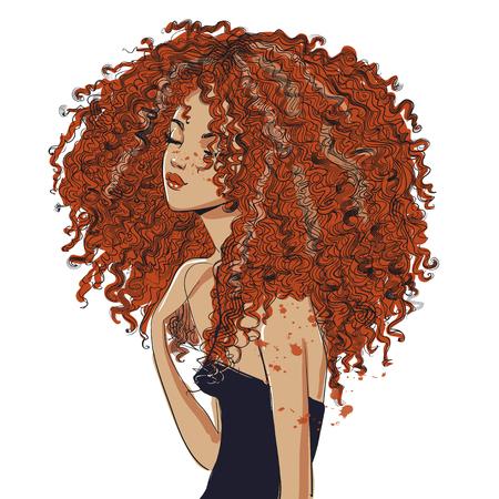 Ilustración de cute curly girl - Imagen libre de derechos