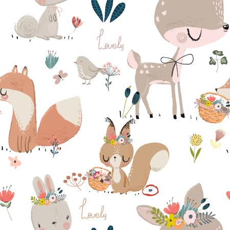 Illustration pour Seamless pattern with cute animals. - image libre de droit