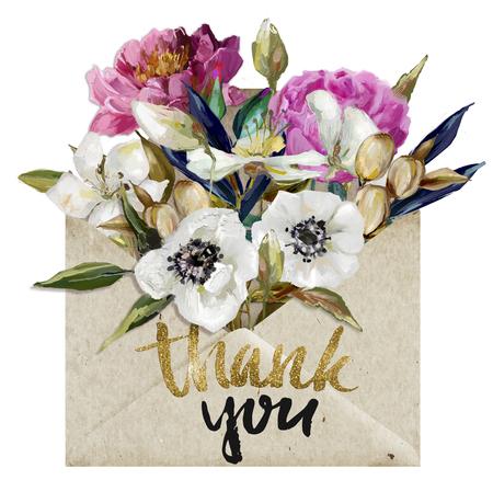 Photo pour envelope with flowers - image libre de droit