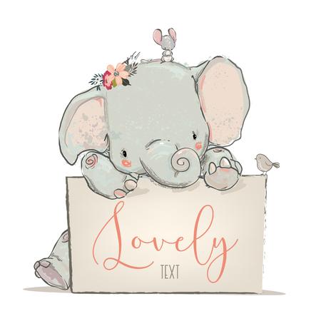 Ilustración de little lovely elephant with mouse and bird- vector illustration - Imagen libre de derechos