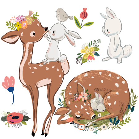 Ilustración de cute fawn and white hares or rabbits. vector collection on white background. - Imagen libre de derechos