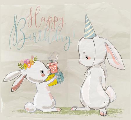 Illustration pour Cute little hares with present box. vector illustration - image libre de droit