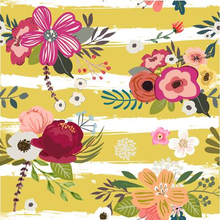 Illustration pour Seamless pattern with doodle flowers - image libre de droit