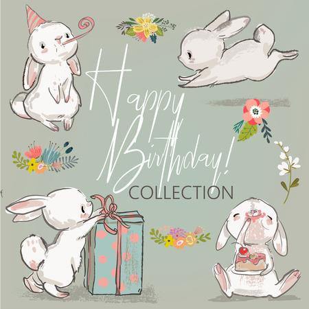 Illustration pour cute little birthday hares collection. vector illustration - image libre de droit