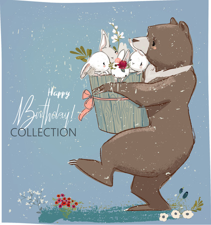 Illustration pour Happy birthday card template with hares and bear. - image libre de droit