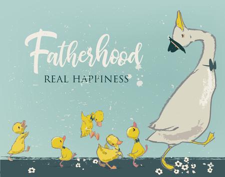 Ilustración de Family of cute farm birds with Fatherhood, real happiness text. - Imagen libre de derechos