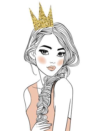 Illustration pour portrait of a young woman with long hair - image libre de droit