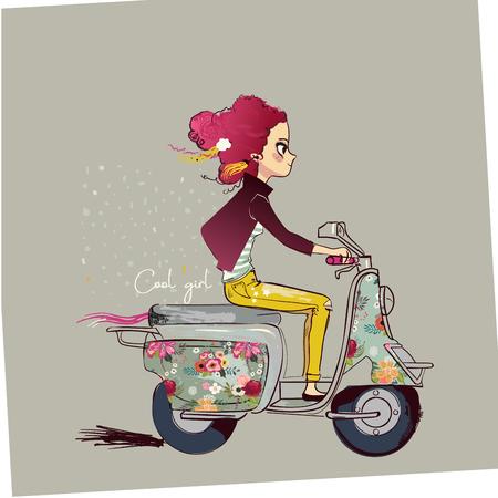 Ilustración de cute cartoon girl on motorbike - Imagen libre de derechos