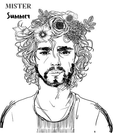 Illustrazione per Hipster fashion Barber men with tattoo. Vector illustration. - Immagini Royalty Free