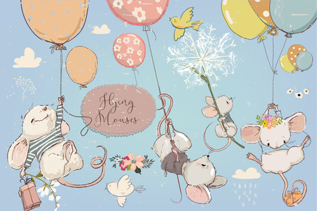 Ilustración de Collection with vector cute birthday mouses with flowers and balloons - Imagen libre de derechos