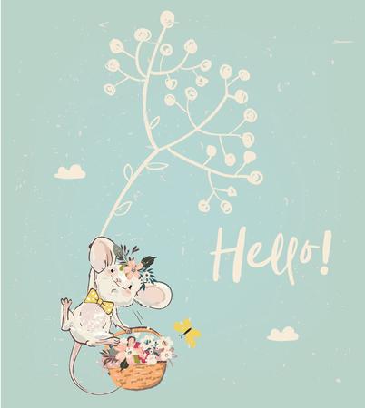 Illustration pour cute birthday mouse with flowers. vector illustration - image libre de droit