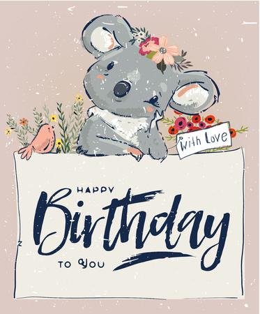 Illustration pour Little koala fly with balloon - image libre de droit