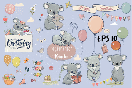 Illustration for Se with Little koalas and birthday elements - Royalty Free Image