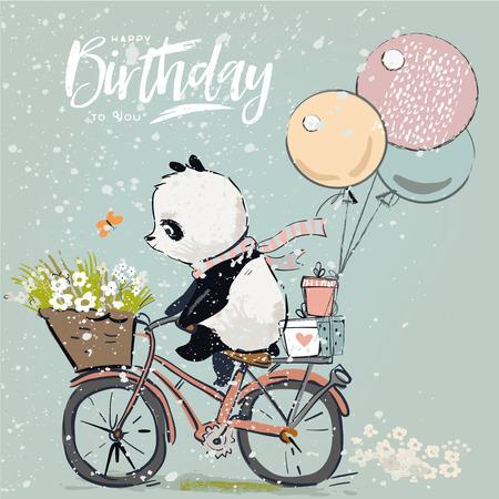 Illustration pour Little panda on bike with balloon - image libre de droit