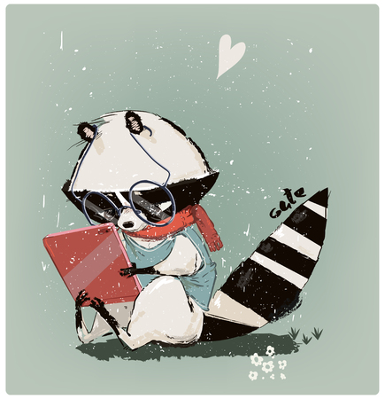 Illustrazione per cute little raccoon with tablet - Immagini Royalty Free