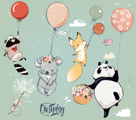 Illustrazione per Collection of cute vector birthday fly animals with balloons - Immagini Royalty Free