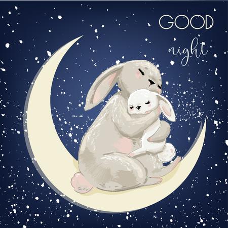 Illustration pour cute hare mom with sleeping kid - image libre de droit