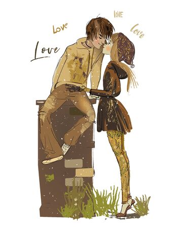 Illustration pour cartoon boy and girl kissing in the street - image libre de droit