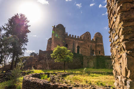 Photo for Fasil Ghebbi is the remains of a fortress-city within Gondar. It was founded in the 17th century by Emperor Fasilides (Fasil) and was the home of Ethiopia's emperors. - Royalty Free Image