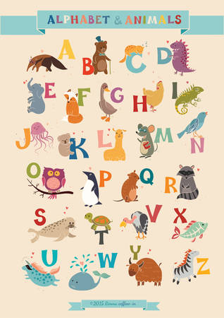 Photo pour Alphabet & Animal Vector Set. Illustration. Education for children, preschool, cute, poster. Hand Drawn. - image libre de droit
