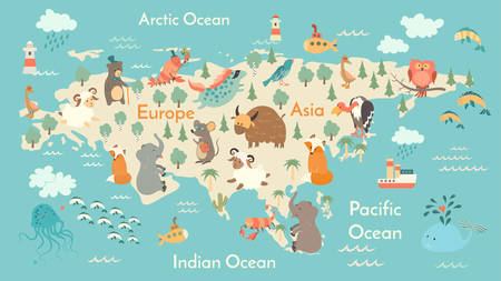 Illustration pour Animals world map, Eurasia. Vector illustration, preschool, baby, continents, oceans, drawn, Earth. - image libre de droit