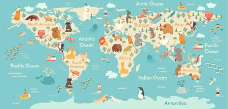 Ilustración de Animals world map. Vector illustration, preschool,  baby,continents, oceans, drawn, Earth. - Imagen libre de derechos