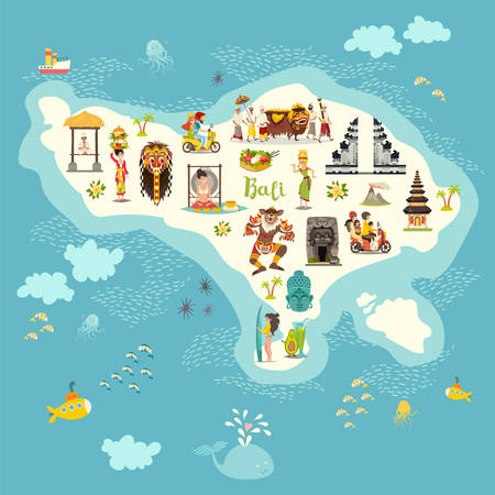 Illustration for Bali map vector illustration. Illustrated map of Bali for children/kid. Cartoon abstract atlas of Bali with landmark and touristic symbol: temple, meditation, traditional dance, surfing, nyepi and volcanic - Royalty Free Image
