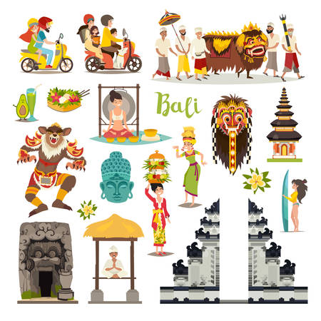 Illustration pour Bali landmarks vector icons set. Illustrated travel collection. Balinese traditional Temple, ethnic mask, indonesian people and tourist, Buddha drawn art sign. Isolated on white background - image libre de droit