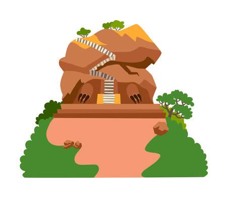 Ilustración de Sigiriya rock vector illustration. Fantastic mountain kingdom with stairs to the top. Rock mountain Sri Lanka landmark cartoon style. Asian forest landscape. Isolated drawing icon on white background - Imagen libre de derechos