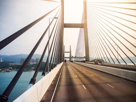 Photo pour Tsing Ma bridge in Hong Kong - image libre de droit