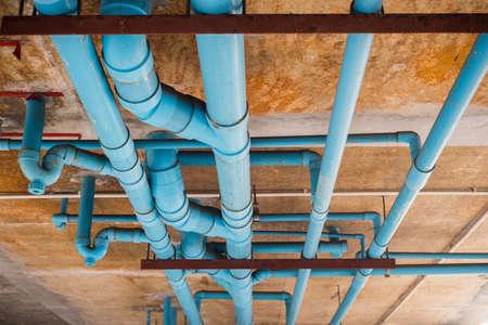 Photo pour PVC pipeline under buliding. - image libre de droit