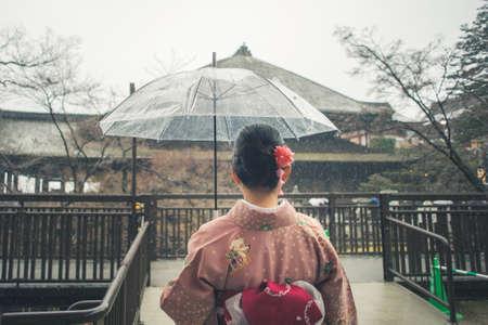Photo for Tourist wear traditional Japanese clothing Kimono traveling at Kiyomizu dera - Royalty Free Image