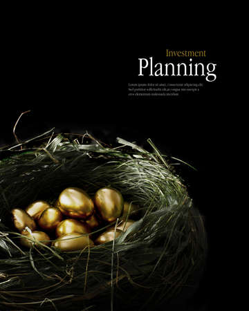 Photo pour Creatively lit golden eggs in a genuine bird nest representing savings and investments. - image libre de droit