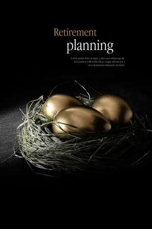 Photo pour Concept image for retirement planning. Creatively lit golden goose eggs in a real birds nest representing client investments. Copy space. - image libre de droit