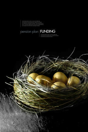 Photo for Concept image for pension fund management. Gold eggs in a grass birds nest against a black background. Copy space. - Royalty Free Image