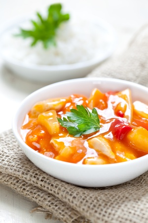 Photo for sweet sour chicken with fresh rice  - Royalty Free Image