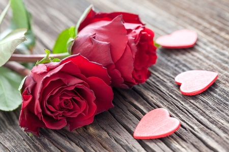 Photo for roses and hearts on wood  - Royalty Free Image