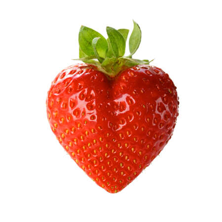 Photo for a heart shaped strawberry isolated on a white background - Royalty Free Image