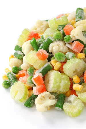 homemade frozen vegetables on white background