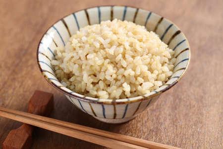 Foto de boiled brown rice, healthy japanese food - Imagen libre de derechos