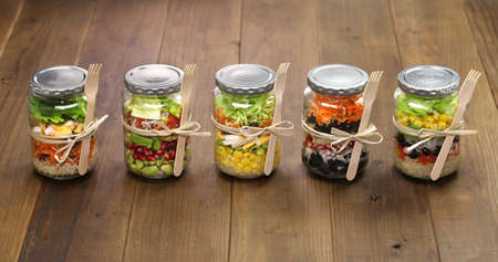 Photo for homemade healthy salad in glass jar - Royalty Free Image