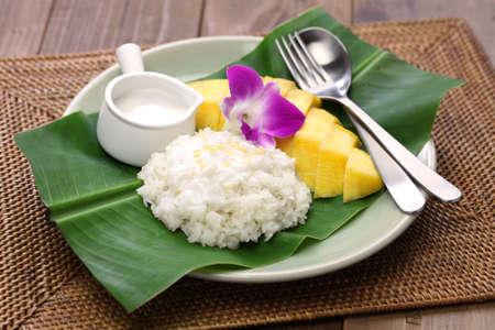 Photo for sticky rice with mango, khao niaow ma muang, thai sweet - Royalty Free Image