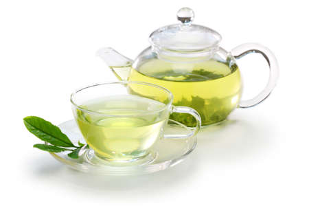 Photo for glass cup of Japanese green tea and teapot isolated on white background - Royalty Free Image