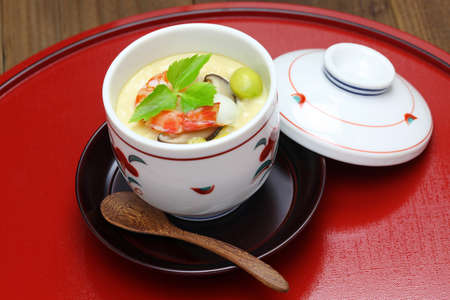 Photo pour steamed egg custard, chawanmushi and japanese food - image libre de droit